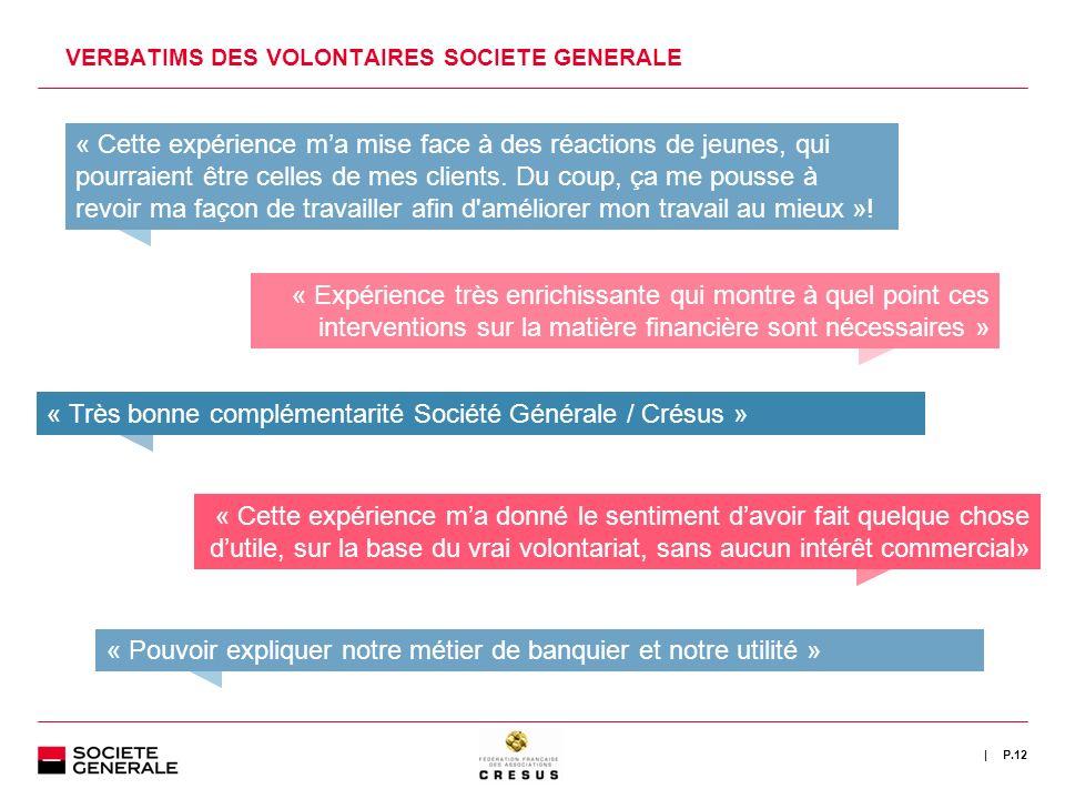 VERBATIMS DES VOLONTAIRES SOCIETE GENERALE