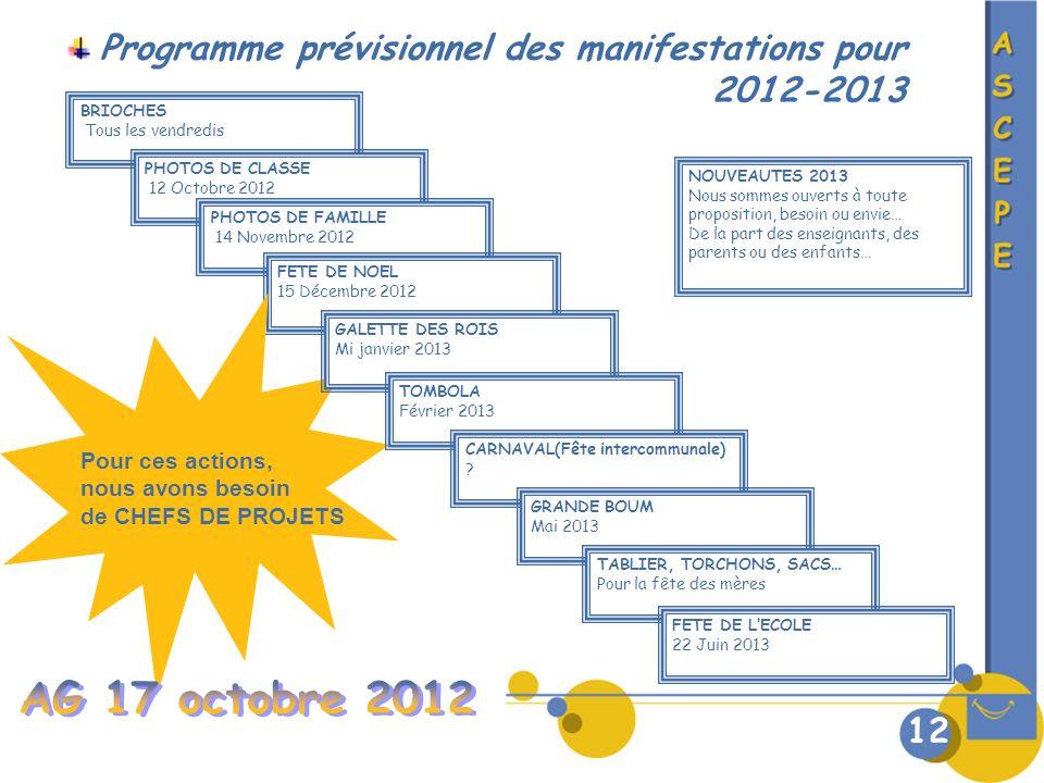 Programme prévisionnel des manifestations pour 2012-2013