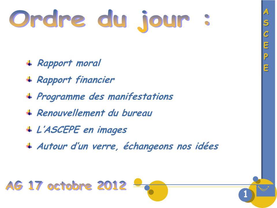Ordre du jour : AG 17 octobre 2012