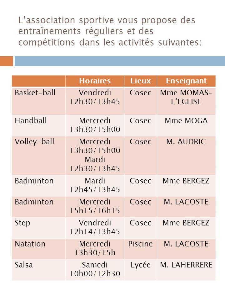 L'association sportive vous propose des entraînements réguliers et des compétitions dans les activités suivantes:
