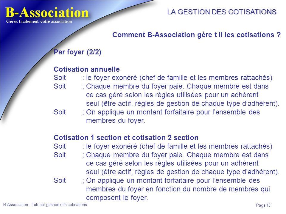 LA GESTION DES COTISATIONS