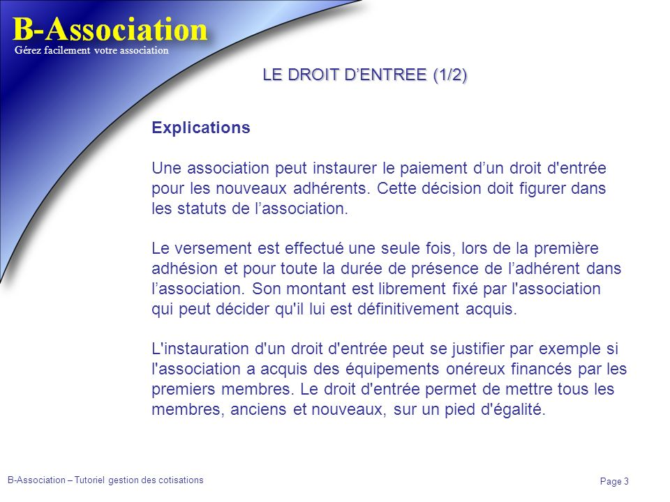 LE DROIT D'ENTREE (1/2) Explications.