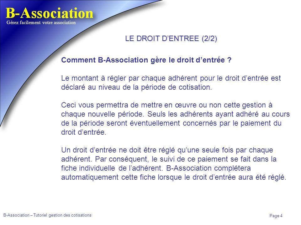 LE DROIT D'ENTREE (2/2) Comment B-Association gère le droit d'entrée
