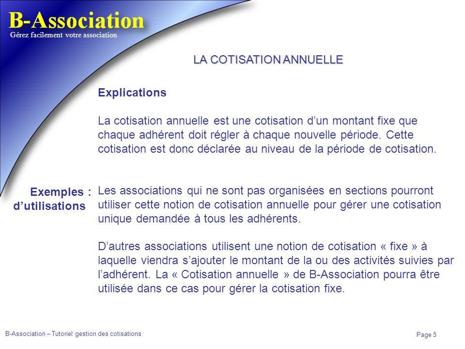 LA COTISATION ANNUELLE