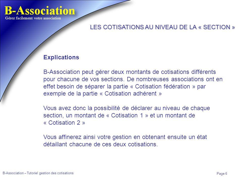 LES COTISATIONS AU NIVEAU DE LA « SECTION »