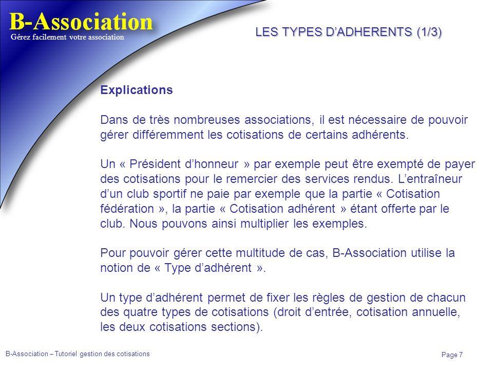 LES TYPES D'ADHERENTS (1/3)