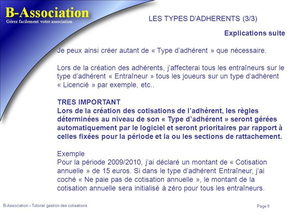 LES TYPES D'ADHERENTS (3/3)