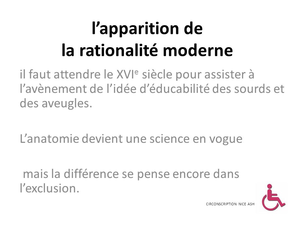 l'apparition de la rationalité moderne
