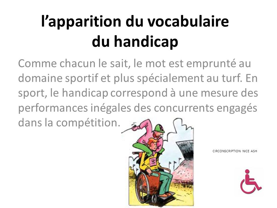 l'apparition du vocabulaire du handicap