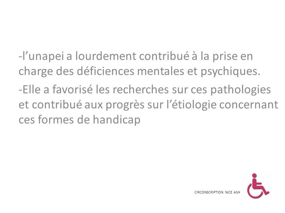 l'unapei a lourdement contribué à la prise en charge des déficiences mentales et psychiques.