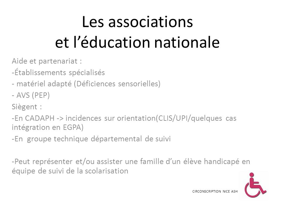 Les associations et l'éducation nationale