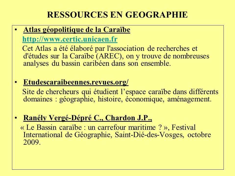 RESSOURCES EN GEOGRAPHIE