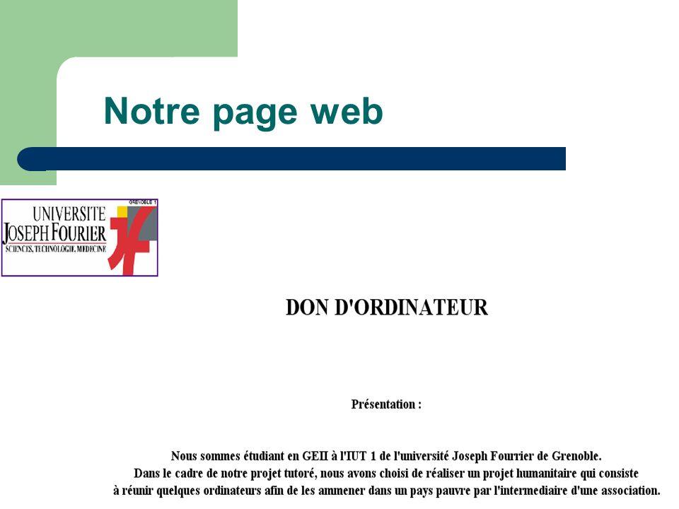 Notre page web