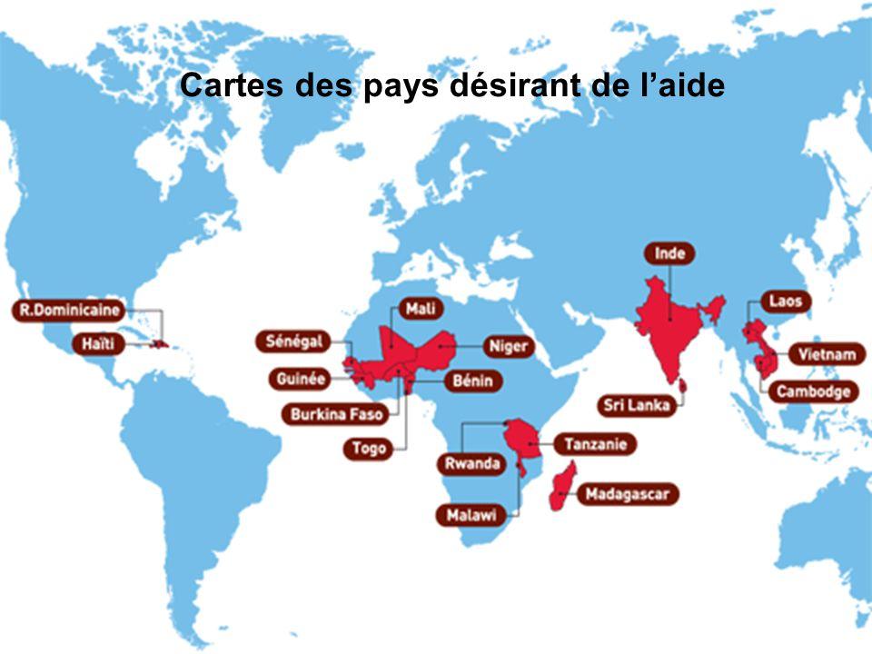 Cartes des pays désirant de l'aide
