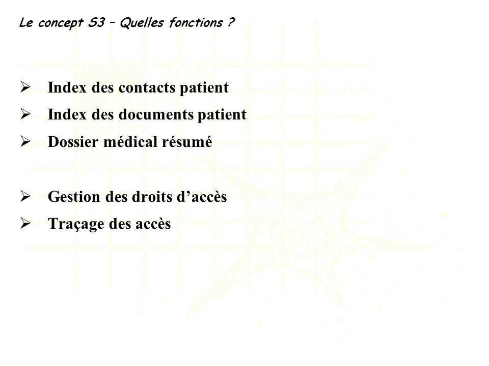 Index des contacts patient Index des documents patient