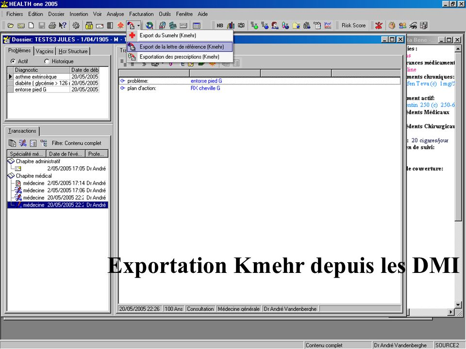 Exportation Kmehr depuis les DMI Interface dédiée au projet pilote