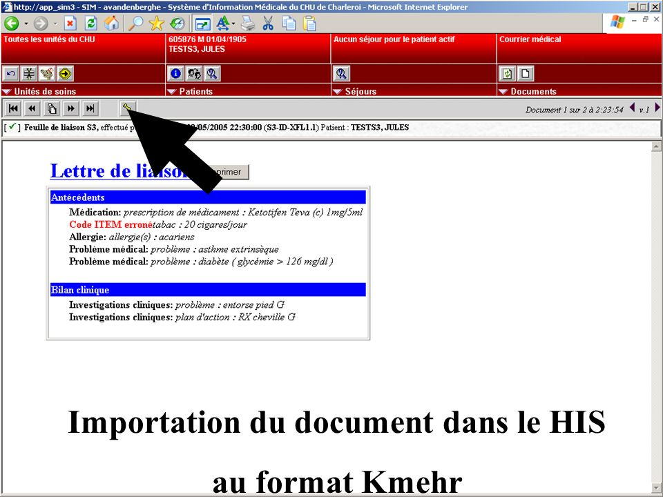 Importation du document dans le HIS