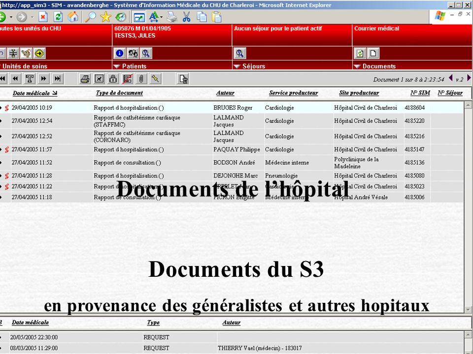 Documents de l'hôpital