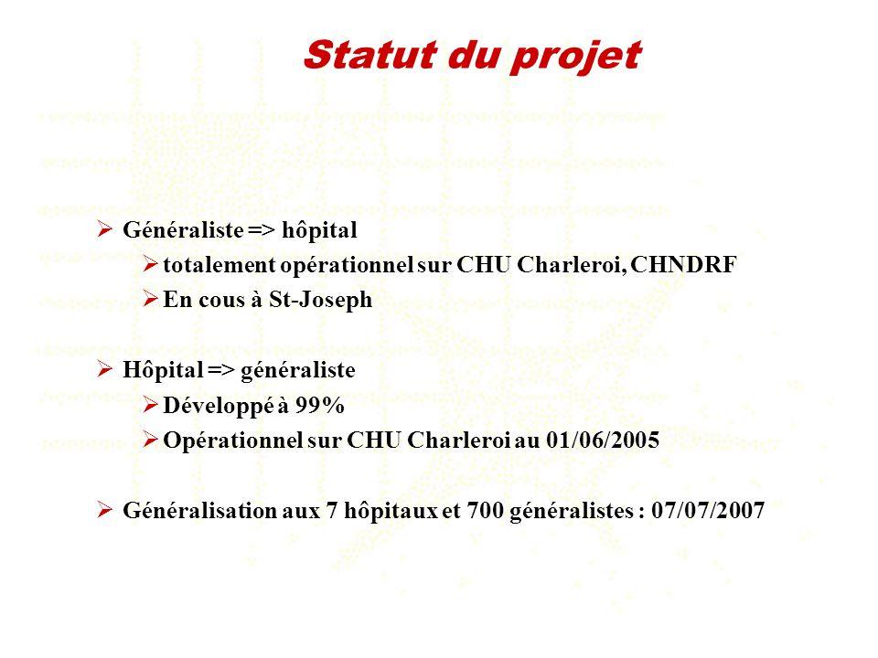 Statut du projet Généraliste => hôpital