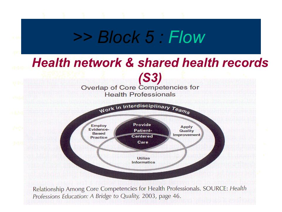 >> Block 5 : Flow Facilities–Legislation-Organisation-Wisdom Health network & shared health records (S3)