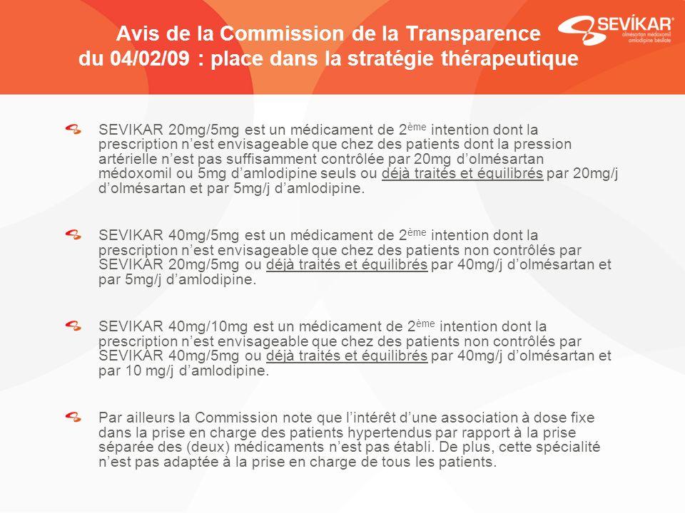 Avis de la Commission de la Transparence du 04/02/09 : place dans la stratégie thérapeutique