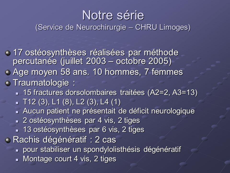 Notre série (Service de Neurochirurgie – CHRU Limoges)
