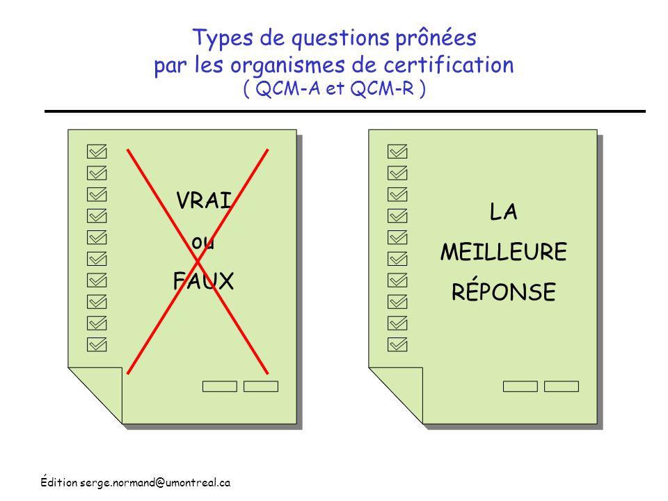 Types de questions prônées par les organismes de certification ( QCM-A et QCM-R )