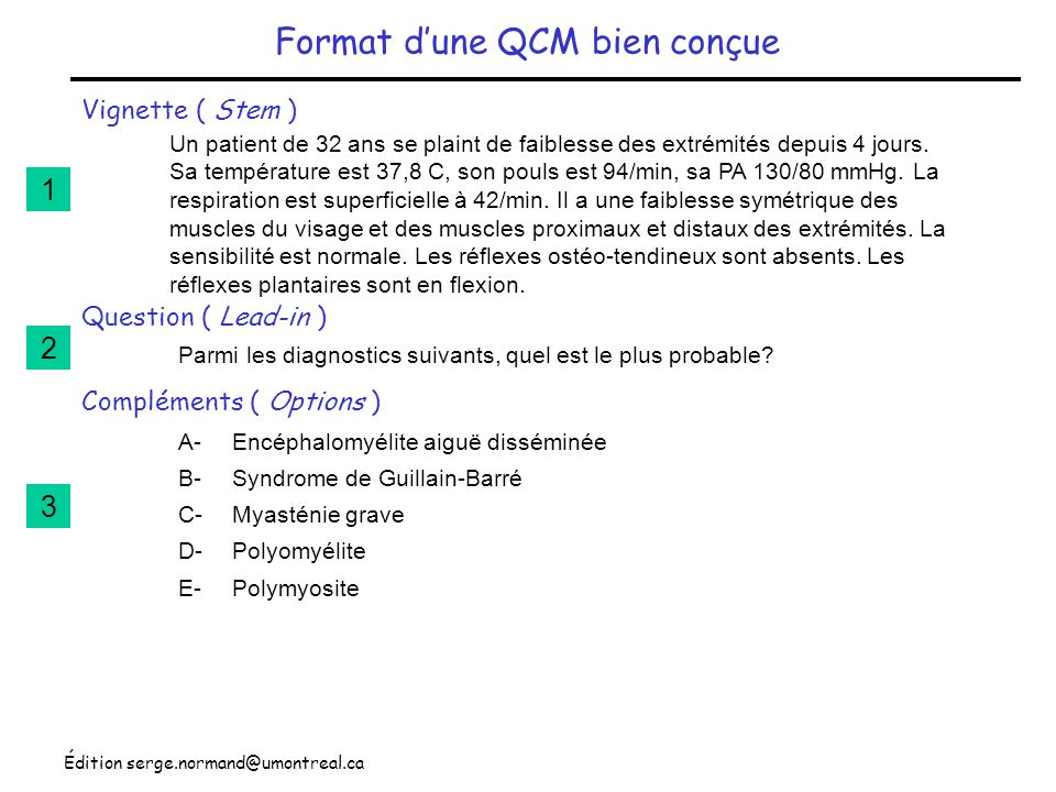 Format d'une QCM bien conçue