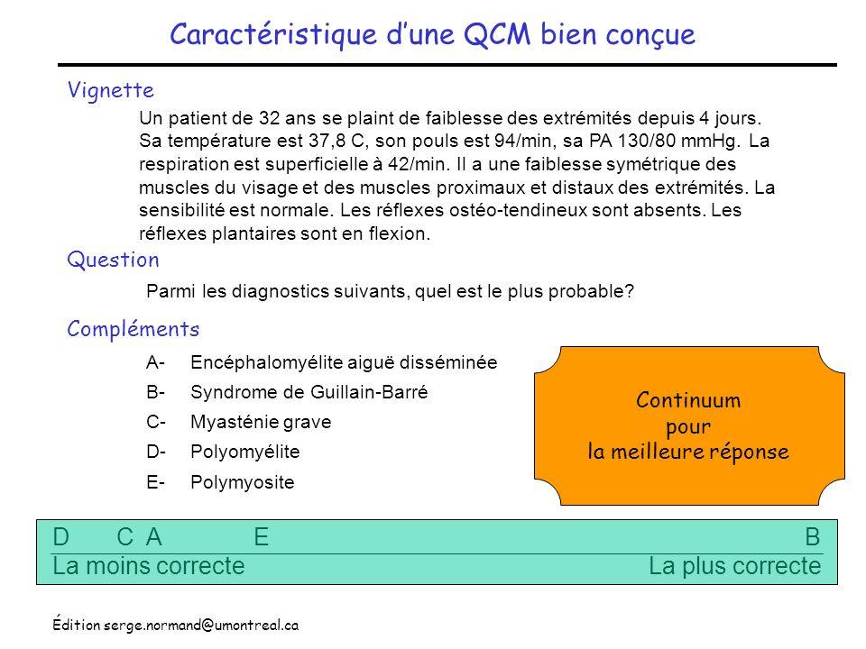 Caractéristique d'une QCM bien conçue