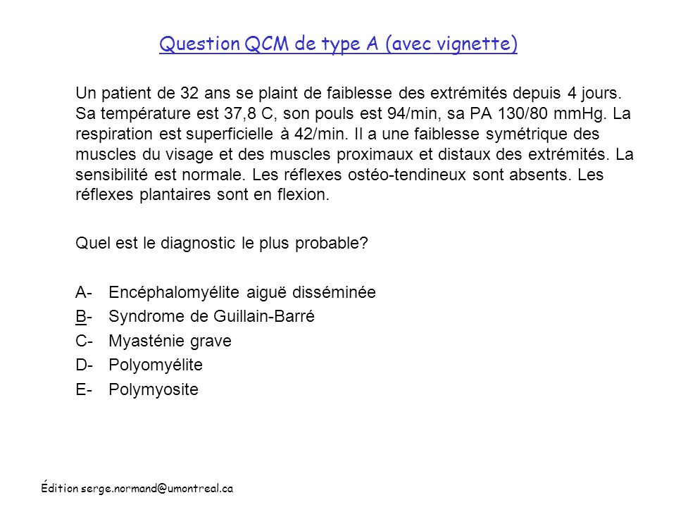 Question QCM de type A (avec vignette)