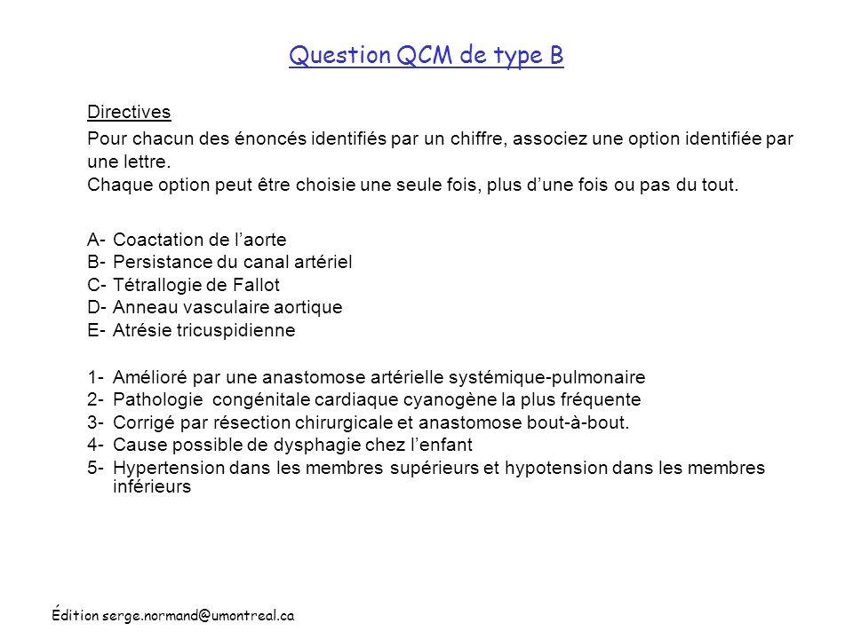 Question QCM de type B Directives