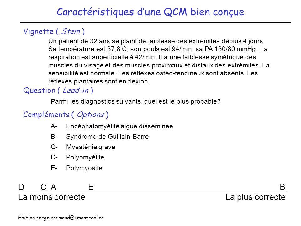Caractéristiques d'une QCM bien conçue