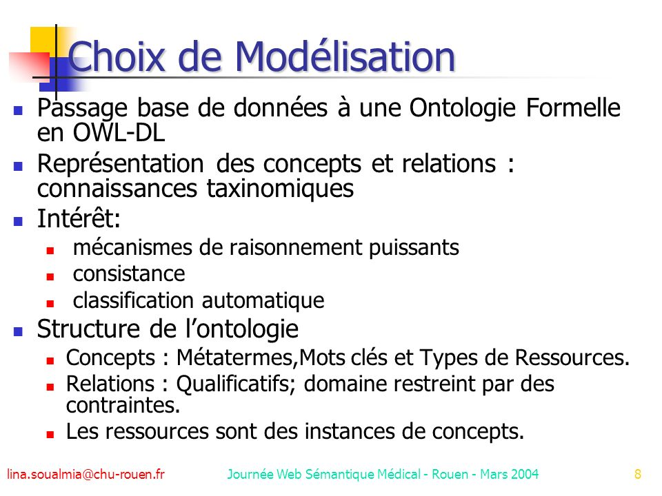 Journée Web Sémantique Médical - Rouen - Mars 2004