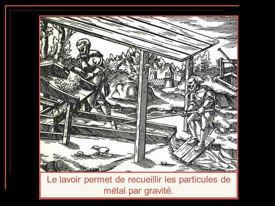 Le lavoir permet de recueillir les particules de métal par gravité.