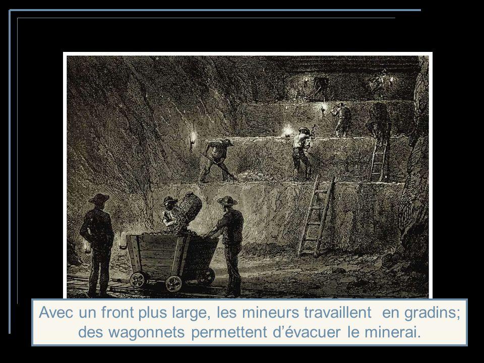 Avec un front plus large, les mineurs travaillent en gradins; des wagonnets permettent d'évacuer le minerai.