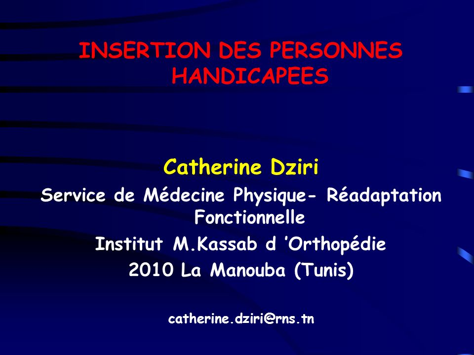 INSERTION DES PERSONNES HANDICAPEES Catherine Dziri