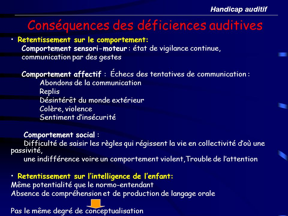 Conséquences des déficiences auditives