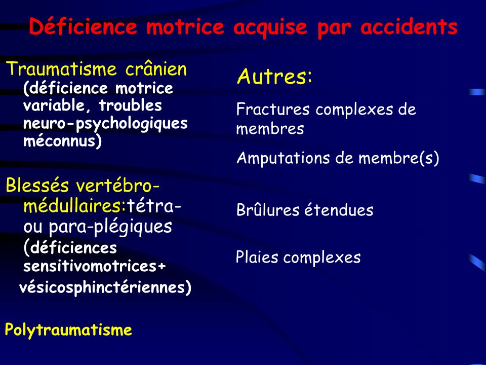 Déficience motrice acquise par accidents