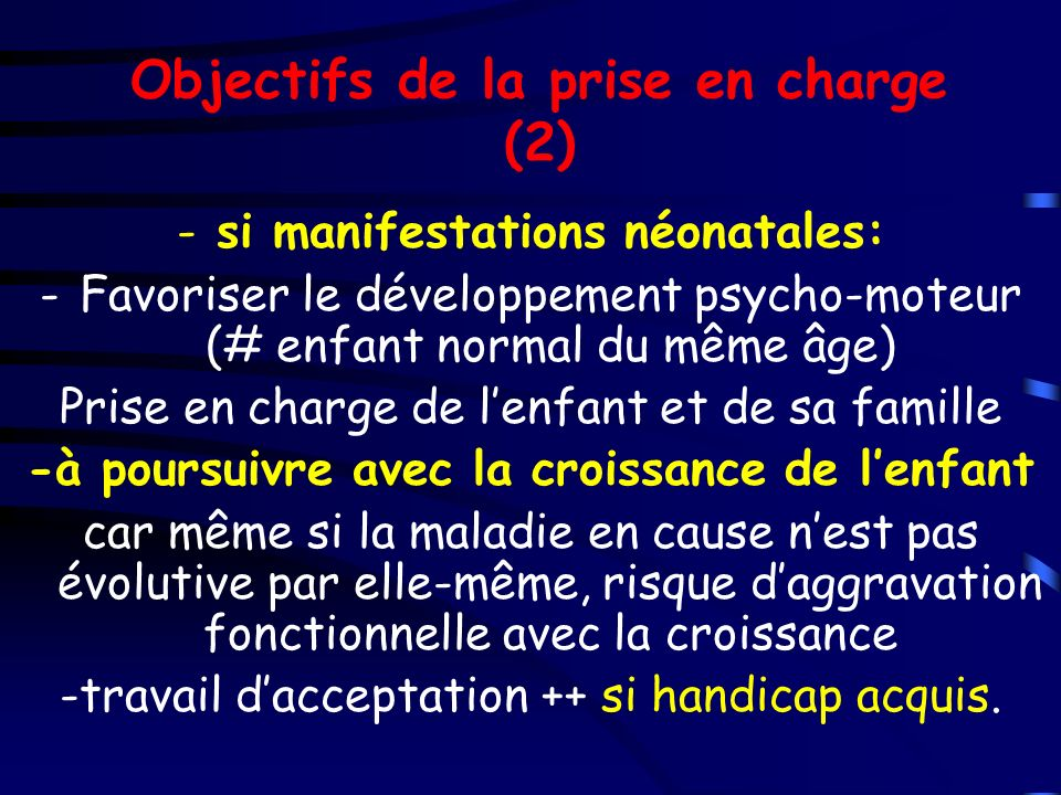 Objectifs de la prise en charge (2)