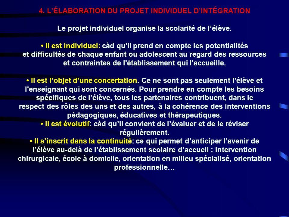 4. L'ÉLABORATION DU PROJET INDIVIDUEL D'INTÉGRATION