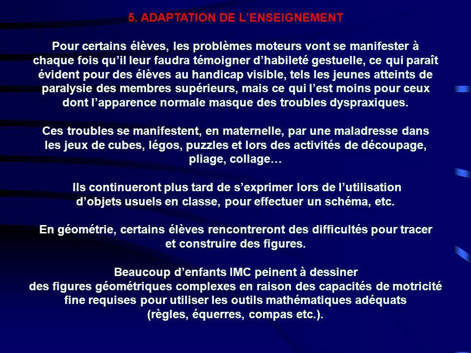 5. ADAPTATION DE L'ENSEIGNEMENT
