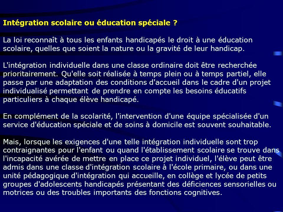 Intégration scolaire ou éducation spéciale
