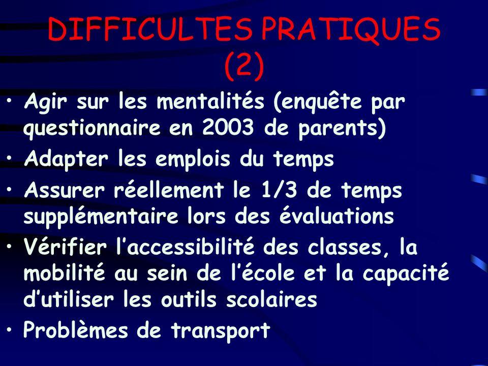 DIFFICULTES PRATIQUES (2)