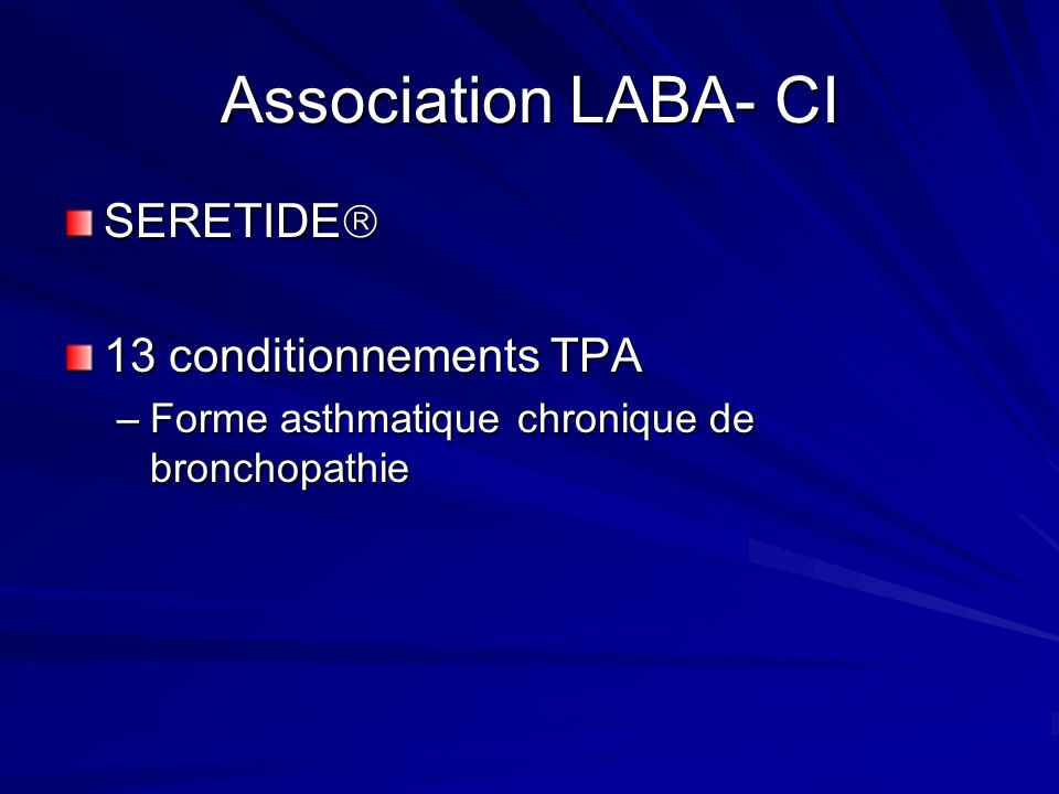 Association LABA- CI SERETIDE 13 conditionnements TPA