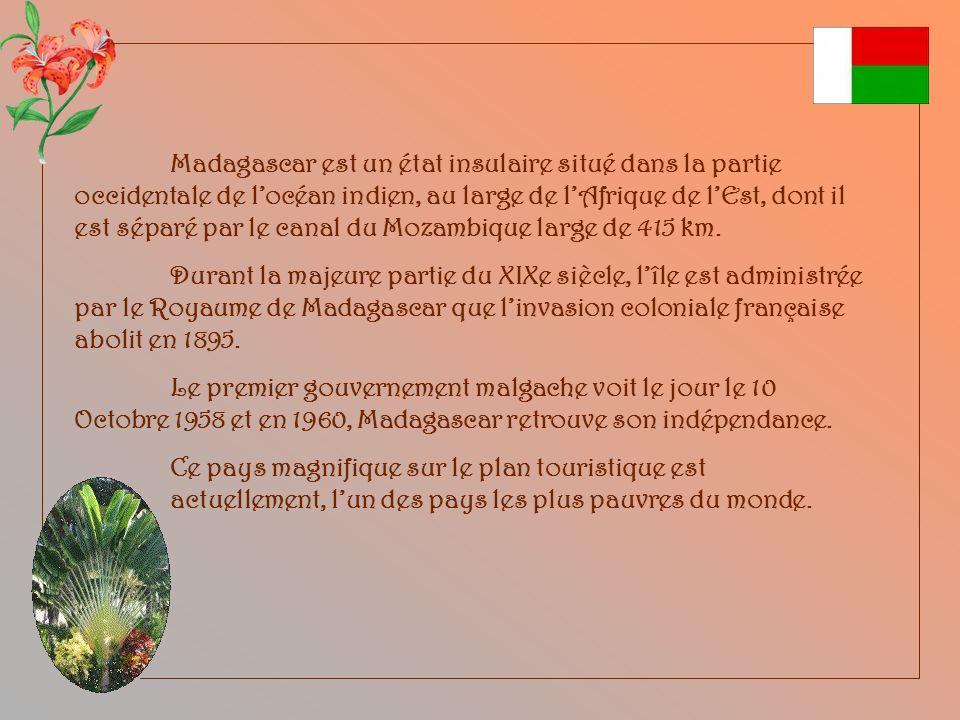 Madagascar est un état insulaire situé dans la partie occidentale de l'océan indien, au large de l'Afrique de l'Est, dont il est séparé par le canal du Mozambique large de 415 km.