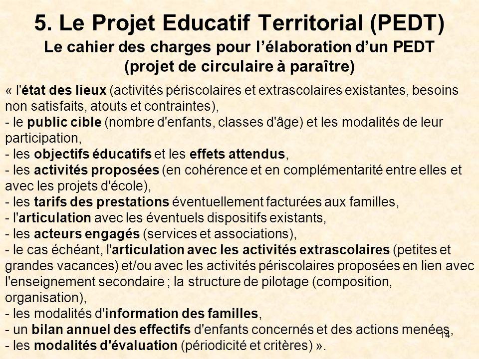 5. Le Projet Educatif Territorial (PEDT)