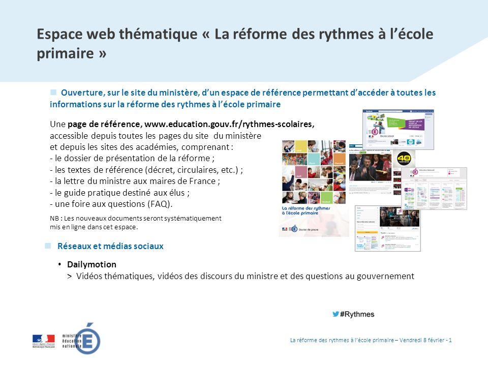 Espace web thématique « La réforme des rythmes à l'école primaire »