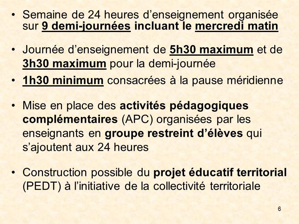Semaine de 24 heures d'enseignement organisée sur 9 demi-journées incluant le mercredi matin