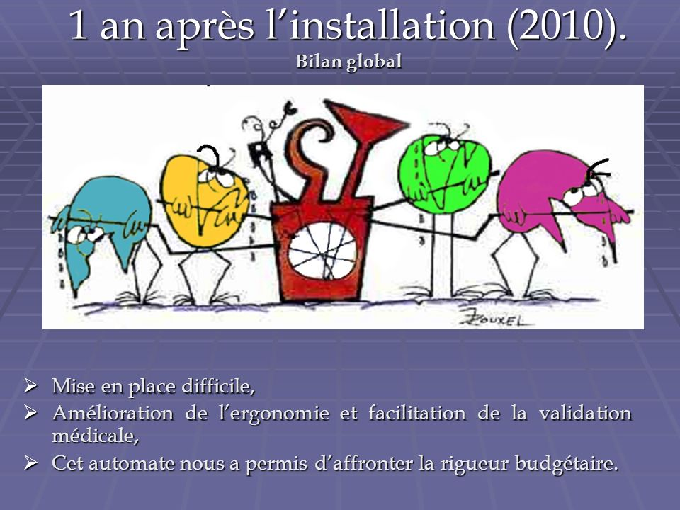 1 an après l'installation (2010). Bilan global