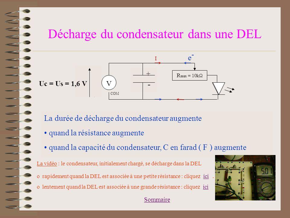Décharge du condensateur dans une DEL
